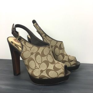 Coach canvas logo mule sling back heel